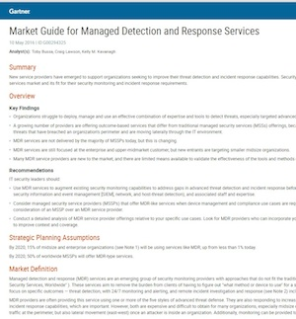 Gartner-Bericht: Market Guide for Managed Detection and Response Services